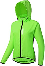 WOSAWE Women's Packable Cycling Jacket Water Resistance Running Hooded Windbre