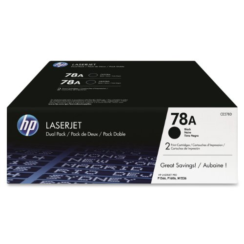 HP 78A (CE278A) Black Toner Cartridge, 2 Toner Cartridges (CE278D) by HP