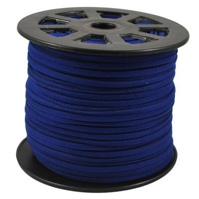 BeadsTreasure Midnight Blue Suede Cord Lace Leather Cord For Jewelry Making 3x1.5 mm-20 Feet. - Blue Leather Cord
