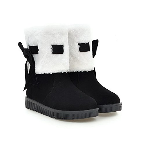 AN A&N Womens Snow-Boots Closed-Toe No-Closure Chain-Strap No-Heel Warm Lining Fringed Suede Urethane Snow Boots DKU01703 Black mKloX4choo