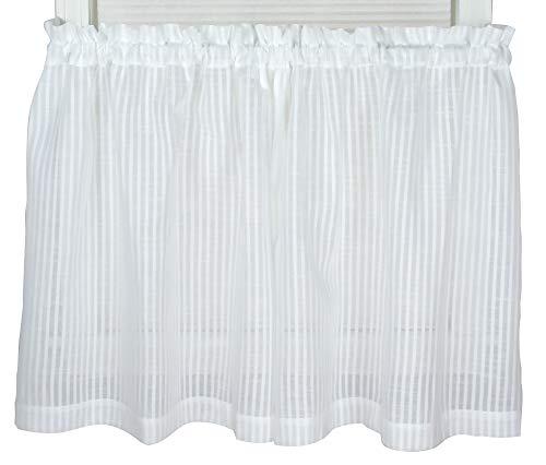 Bay Breeze Semi Sheer Stripe Tier Curtain (White, 72