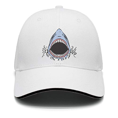 Unisex Adults Athletic Great White Shark Bite Dad Cycling Hat Fit Snapback ()