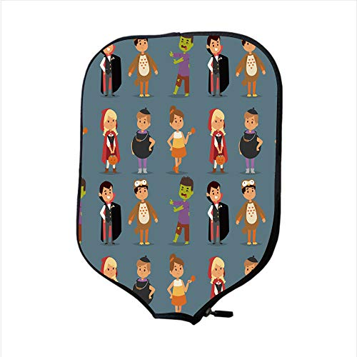 Neoprene Pickleball Paddle Racket Cover Case/Cute Kids Wearing Halloween Party Costumes Vector/Fit for Most Rackets - Protect Your Paddle]()