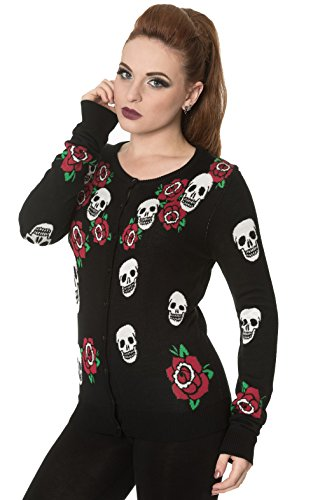 Banned-SKULLS-ROSE-Womens-Long-Sleeve-Fine-Knit-Cardigan-Jumper