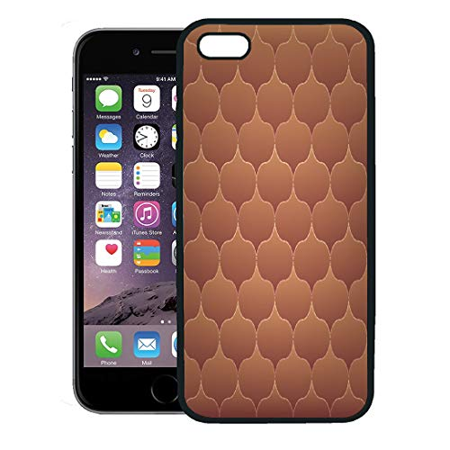Semtomn Phone Case for iPhone 8 Plus case,Brown Quilt Pattern Quilted Colorful Abstract Artistic Beauty Branch iPhone 7 Plus case Cover,Black