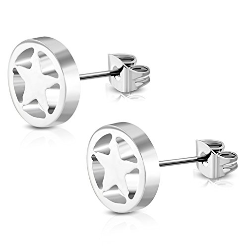 Cut Out Round Earrings (Stainless Steel Full All Star Open Cut-Out Round Circle Button Stud Post Earrings)