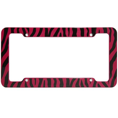 (OxGord 1pc Plastic License Plate Frame with ZebraTiger Stripes, Red Black)