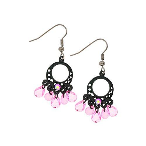 Black Line Pink Aurora Chandelier Dangle Earrings Black / Aurora Pink