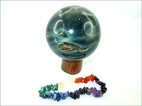 Jet Ocean Jasper 45 - 50 mm Ball Sphere Gemstone A+ Hand Carved Crystal Altar Healing Devotional Focus Spiritual Chakra Cleansing Metaphysical Jet International Crystal Therapy Booklet Ocean Jasper Crystal