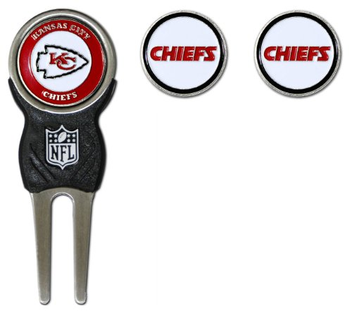 Team Golf NFL Kansas City Chiefs Divot Tool with 3 Golf Ball Markers Pack, Markers are Removable Magnetic Double-Sided Enamel (Kansas Golf Ball)
