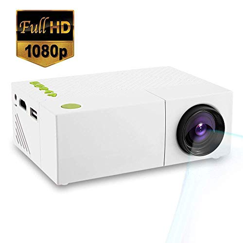 Mengen88 1080P Mini Projector Portable, HD LED 3D Vision Multimedia Movie Projector Compatible with HDMI USB SD Card, for Party Game and Outside Camping