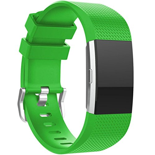 Binmer(TM) New Fashion Sports Silicone Bracelet Strap Band for Fitbit Charge 2 (Green)