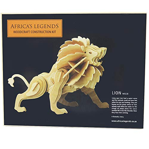(Africa's Legends Woodcraft Construction Kit,3D Jigsaw Puzzle Woodcraft, kit for Ages 5+, Weight 1.12 Ounces,3D African Lion Animal Model, Aspiring Engineers and Builders, Made from Plywood.)