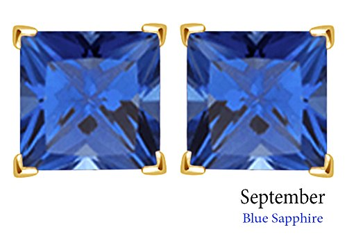 3mm Princess Cut Simulated Blue Sapphire Stud Earrings in 14k Yellow Gold Over Sterling Silver ()