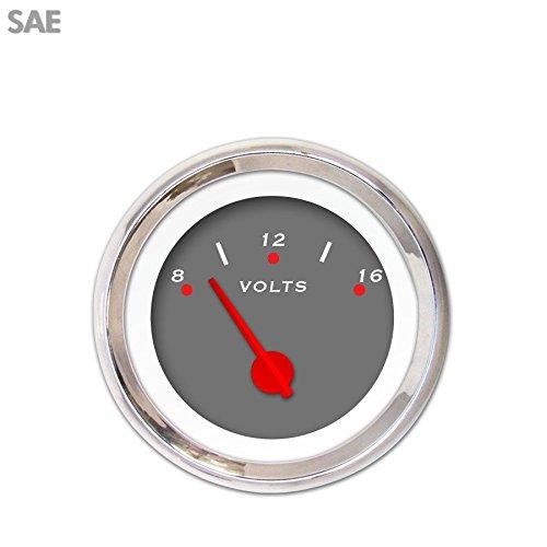 Red Modern Needles, Chrome Trim Rings, Style Kit Installed Aurora Instruments 1370 Pegged Dark Gray SAE Volt Gauge