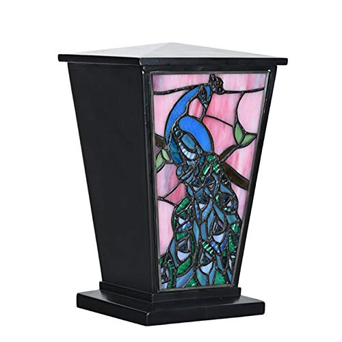 Stained Glass Memorial Urn for Adults - Large - Holds Up to 200 Cubic Inches of Ashes - Peacock Blue Cremation Urn for Ashes - Engraving Sold Separately