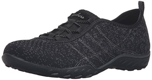Skechers Sport Women's Breathe Easy Fortune Fashion Sneaker,Black/Charcoal Mesh/Trim,6.5 M US