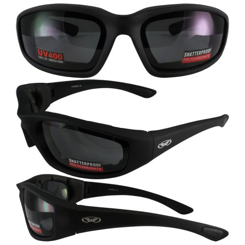 Global Vision Eyewear Kickback Sunglasses with EVA Foam, Smoke Tint Lens, Soft Touch Black Frame ()