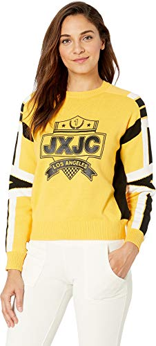 Juicy Couture Juicy Womens Racer Crest Graphic Pullover Sweater Yellow L