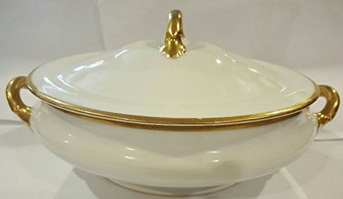 Austria Queen China Gold Trim Round Serving Bowl With Lid