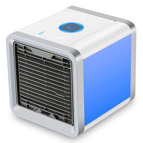 Personal Space Cooler,3 in 1 USB Mini Portable Air Conditioner Humidifier Purifier,3 Fan Speed 4 Foot Cooling Area 7 Colour LED Light for Bedroom Office Home Outdoor Travel by CAROLDEAL by CAROLDEAL
