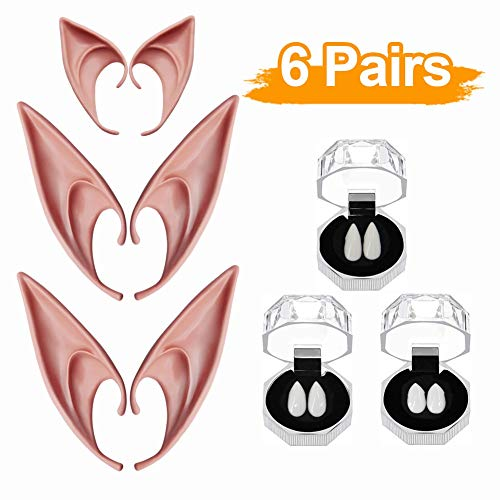 Vampire Fangs Costumes (Lulu Home Halloween Costume Set, Vampire Fangs and Elf Ears for Halloween Costume, Costume Play Party)
