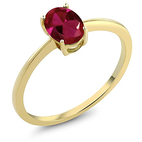 Gem Stone King 10K Yellow Gold Red Created Ruby Solitaire Women's Engagement Ring 0.90 Ct Oval (Size 9)