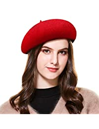 Kajeer Women's French Wool Blend Beret Hat in Solid Color Floppy Artist Painter Hats for Spring Autumn Winter