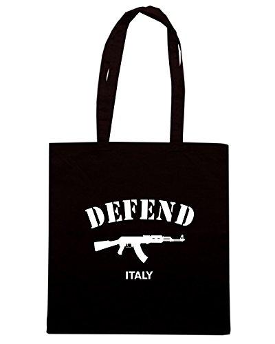 T-Shirtshock - Bolsa para la compra T0989 defend italy militari Negro