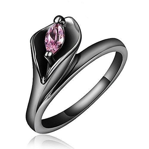 Pink Leaf Snake Fashion Black Pink Zircon Ring Titanium Camoring Engagement Wedding Ring by 17maimeng