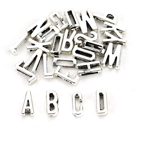 (JETEHO 5 Sets 10mm Flat Alphabet Slide Letter Charm for Wristbands/Bracelets, DIY Jewelry Making Charms(Antique Silver Tone))
