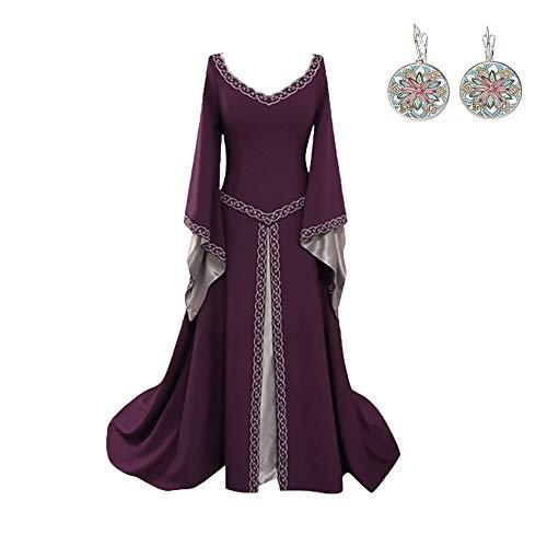 CCOOfhhc Vintage Dress-Women's Renaissance Medieval Dress Trumpet