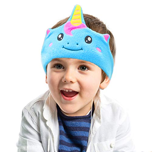 CHOKMAX Kids Headphones, Volume Limiting with Ultra Thin Adjustable Speakers Soft Children Fleece Headband Toddler Headphones for Home and Travel - Blue Unicorn