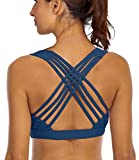 YIANNA Sports Bras for Women - Medium Support Strappy Sports Bra Padded for Yoga, Running, Fitness - Athletic Gym Tops,YA-BRA147-Teal-L