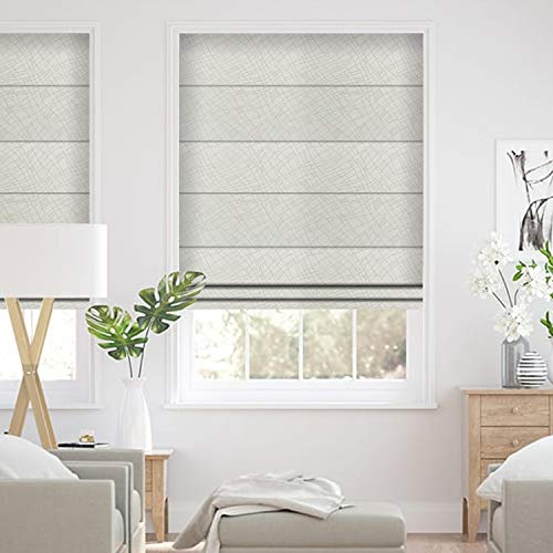 (ALLBRIGHT Striped Blackout Thermal Window Roman Shades (35 x 83 inches, Cream White))