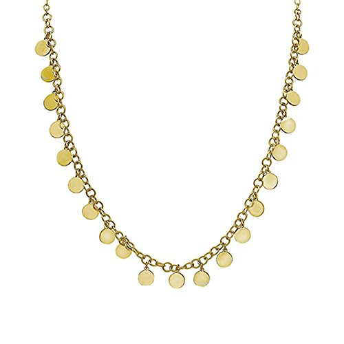 SEVEN50 Circle 20'' Big Dangle Spaced Discs Necklace Gold Plated | Single Row Necklace with 21, 10mm Round Discs (Yellow)