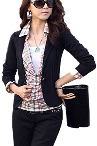 Office Mujeres Chaqueta Slim Un Solapa Corto Abrigo Black Monocolor Blazer XL Boton WzwqTAxzUn