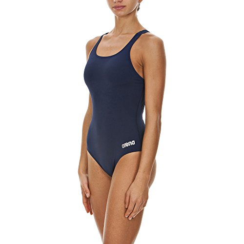 arena Women's Madison Athletic Thick Strap Racer Back One Piece Swimsuit, Navy/Metallic Silver, Size 30