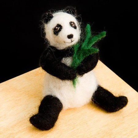 Panda Bear Wool Needle Felting Craft Kit by WoolPets. Made in the USA.