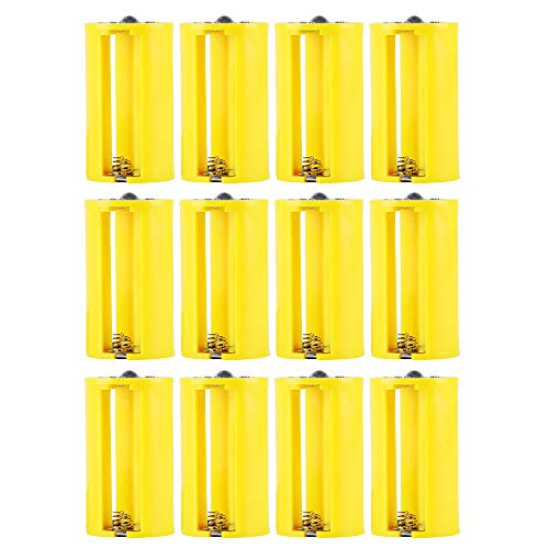Whizzotech Parallel AA to D Battery Adapters Holder 1.5V Output Case Box 3 AA to 1 D Converter (12 Pack Yellow)