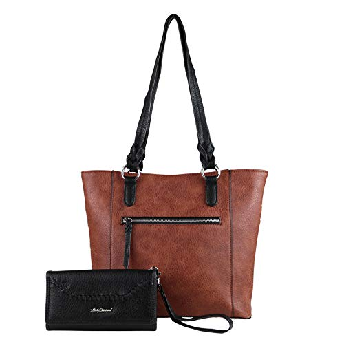 - Concealed Carry Purse - Two-tone Grace Tote with Wallet by Lady Conceal (Mahogany/Black Wallet)