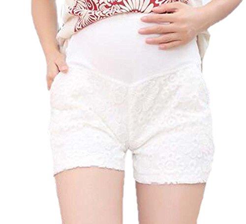regolabile maternità ricamati Confortevole Pantaloncini in allattamento casual Cintura Bianca traspirante addominale Keephen per pizzo pantaloncini wqYpCtw