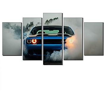 WALKKING WAYS Wall Canvas 5 Panel Dodge Challenger SRT Hellcat Widebody Walk Wall Art Painting Morden Sports Car Print on The Canvas Wall Decor
