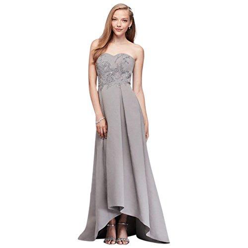 Mercury Low Dress Bridal Appliqued Bridesmaid David's Style High Faille OC290019 Aqwazqf7