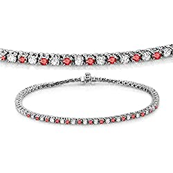 14K White Gold Round Cut Real Ruby & White Diamond Ladies Tennis Bracelet