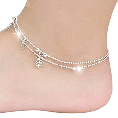 Wholesale SusenstoneClover Women Chain Ankle Bracelet Barefoot Sandal Beach Foot Jewelry for cheap