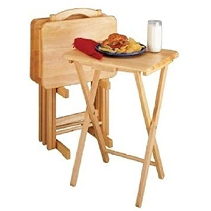 Amazon.com: 5 Piece TV Tray Snack Dinner Folding Table Set: Kitchen ...