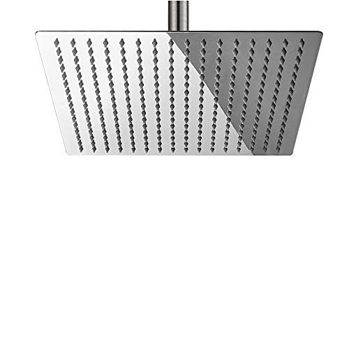BESy 12 Inch Rain Shower Head, 12 Square Rainfall & High Pressure Stainless Steel Bath Shower Head, 1/16 Ultra Thin, Waterfall Full Body Coverage with Silicone Nozzle, Polished Chrome