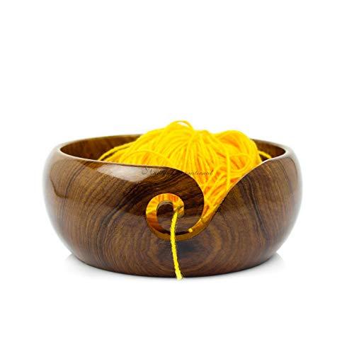 Nagina International Premium Rosewood Crafted Portable Yarn Storage Functional Bowl with Spiral Yarn Dispenser   Crocheting & Stitching Accessories (Medium)