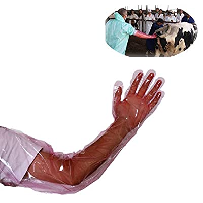 50 Pcs Disposable Soft Plastic Film Gloves Long Arm Veterinary Examination Artificial Insemination Glove by PPX